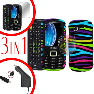 For Samsung Evergreen A667 Screen +Car Charger + Hard Case Rainbow 3-in-1