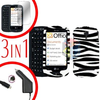 For LG Quantum C900 Screen +Car Charger + Hard Case Zebra 3-in-1