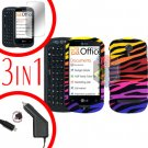 For LG Quantum C900 Screen +Car Charger + Hard Case C-Zebra 3-in-1