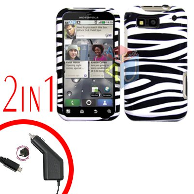 For Motorola Defy MB525 Car Charger + Cover Hard Case Zebra 2-in-1