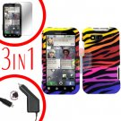 For Motorola Defy MB525 Screen +Car Charger +Cover Hard Case C-Zebra 3-in-1