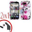For Motorola Defy MB525 Car Charger + Cover Hard Case W-Flower 2-in-1
