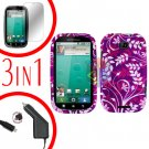 For Motorola Bravo MB520 Screen +Car Charger +Cover Hard Case P-Flower 3-in-1