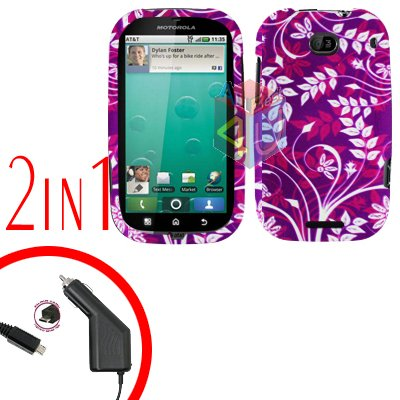 For Motorola Bravo MB520 Cover Hard Case P-Flower 2-in-1