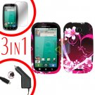 For Motorola Bravo MB520 Screen +Car Charger +Cover Hard Case Love 3-in-1