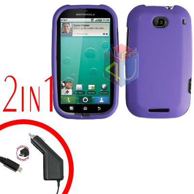 For Motorola Bravo MB520 Car Charger + Cover Hard Case Rubberized Purple 2-in-1