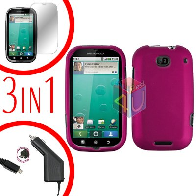 For Motorola Bravo MB520 Screen +Car Charger +Cover Hard Case Rubberized Rose Pink 3-in-1