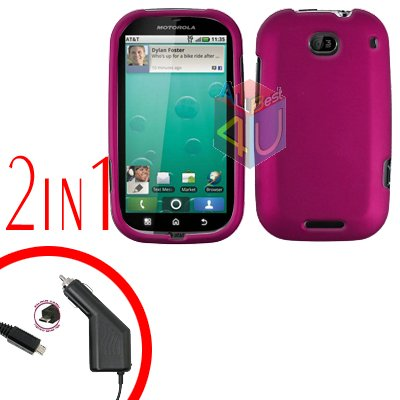 For Motorola Bravo MB520 Car Charger + Cover Hard Case Rubberized Rose Pink 2-in-1
