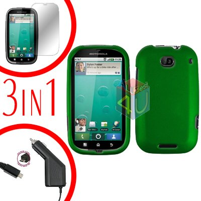 For Motorola Bravo MB520 Screen +Car Charger +Cover Hard Case Rubberized Green 3-in-1