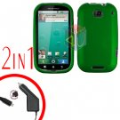 For Motorola Bravo MB520 Car Charger + Cover Hard Case Rubberized Green 2-in-1