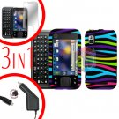 For Motorola Flipside MB508 Screen +Car Charger +Cover Hard Case Rainbow 3-in-1