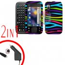 For Motorola Flipside MB508 Car Charger +Hard Case Rainbow 2-in-1