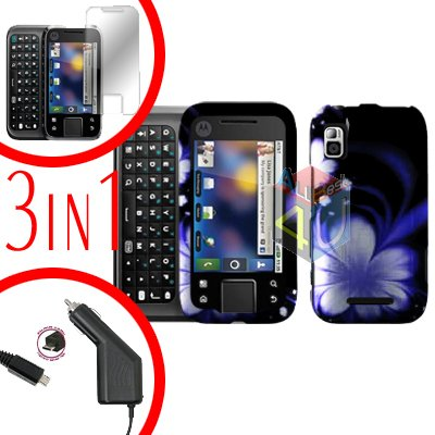 For Motorola Flipside MB508 Screen +Car Charger +Cover Hard Case B-Flower 3-in-1
