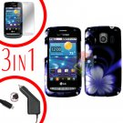 For LG Vortex VS660 Screen +Car Charger +Hard Case B-Flower 3-in-1