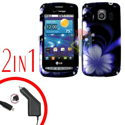 For LG Vortex VS660 Car Charger +Cover Hard Case B-Flower 2-in-1