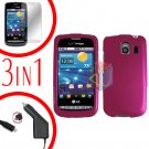 For LG Vortex VS660 Screen +Car Charger +Hard Case Rose Pink 3-in-1