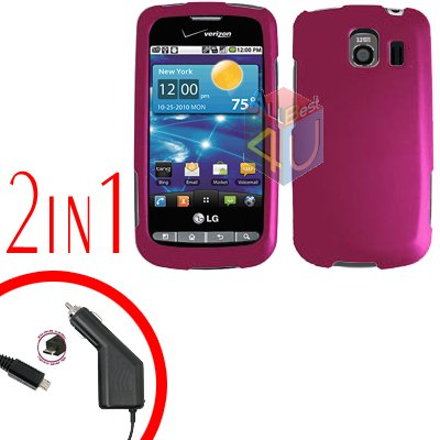 For LG Vortex VS660 Car Charger +Cover Hard Case Rubberized Rose Pink 2-in-1