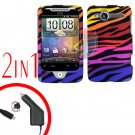For HTC Wildfire Car Charger +Cover Hard Case C-Zebra 2-in-1