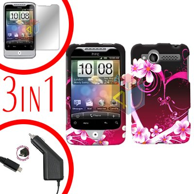 For HTC Wildfire 6225 Screen +Car Charger +Cover Hard Case Love 3-in-1
