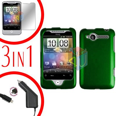 For HTC Wildfire 6225 Screen +Car Charger +Cover Hard Case Rubberized Green 3-in-1