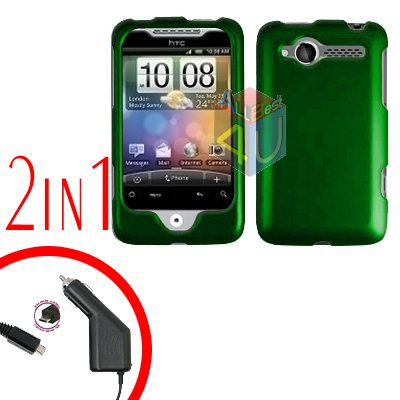 For HTC Wildfire Car Charger +Cover Hard Case Rubberized Green 2-in-1