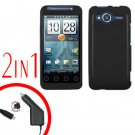For HTC Evo Shift 4G Car Charger +Cover Hard Case Rubberized Black 2-in-1
