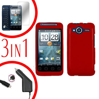 For HTC Evo Shift 4G Screen +Car Charger +Cover Hard Case Rubberized Red 3-in-1