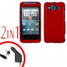 For HTC Evo Shift 4G Car Charger +Cover Hard Case Rubberized Red 2-in-1