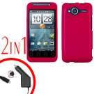 For HTC Evo Shift 4G Car Charger +Cover Hard Case Rubberized Rose Pink 2-in-1