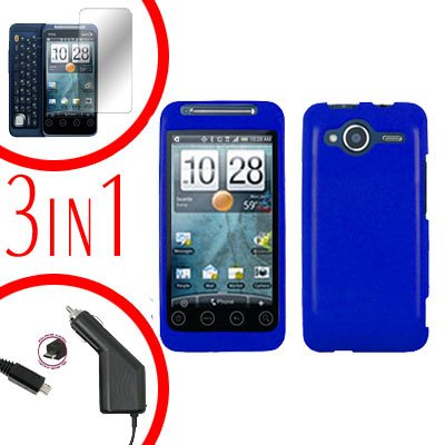 For HTC Evo Shift 4G Screen +Car Charger +Cover Hard Case Rubberized Blue 3-in-1