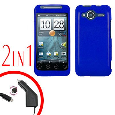 For HTC Evo Shift 4G Car Charger +Cover Hard Case Rubberized Blue 2-in-1