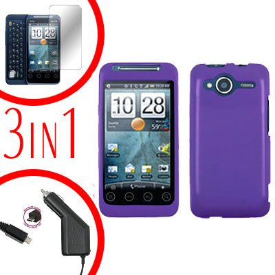 For HTC Evo Shift 4G Screen +Car Charger +Cover Hard Case Rubberized Purple 3-in-1