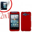 For HTC Evo Shift 4G Screen Protector + Cover Hard Case Rubberized Red 2-in-1