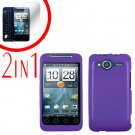 For HTC Evo Shift 4G Screen Protector + Cover Hard Case Rubberized Purple 2-in-1