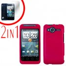 For HTC Evo Shift 4G Screen Protector + Cover Hard Case Rubberized Rose Pink 2-in-1