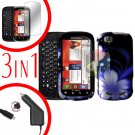 For Motorola Cliq 2 MB611 Screen +Car Charger +Cover Hard Case Rubberized B-Flower 3-in-1