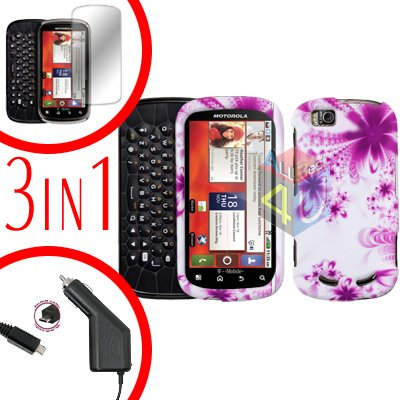 For Motorola Cliq 2 MB611 Screen +Car Charger +Cover Hard Case Rubberized H-Flower 3-in-1