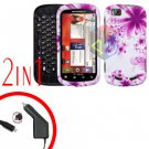For Motorola Cliq 2 MB611 Car Charger + Cover Hard Case H-Flower 2-in-1