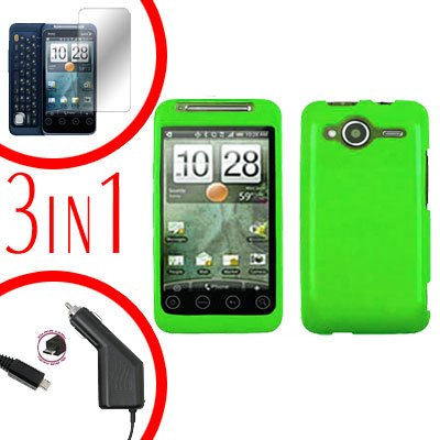 For HTC Evo Shift 4G Screen +Car Charger +Cover Hard Case Rubberized Neon Green 3-in-1