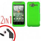 For HTC Evo Shift 4G Car Charger +Cover Hard Case Rubberized Neon Green 2-in-1