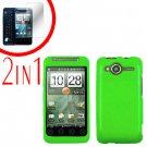 For HTC Evo Shift 4G Screen Protector + Cover Hard Case Rubberized Neon Green 2-in-1