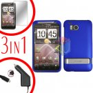 For HTC ThunderBolt  Protector Screen +Car Charger +Cover Hard Case Rubberized Blue 3-in-1