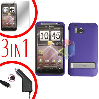 For HTC ThunderBolt  Protector Screen +Car Charger +Cover Hard Case Rubberized Purple 3-in-1