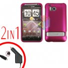 For HTC ThunderBolt Car Charger +Cover Hard Case Rubberized Rose Pink 2-in-1