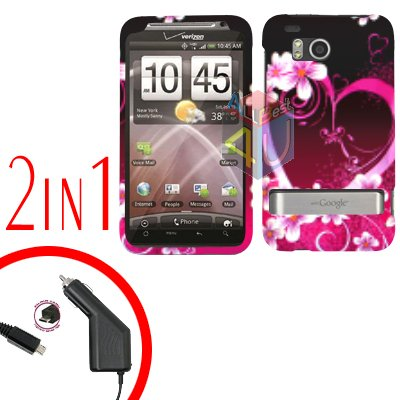 For HTC ThunderBolt Car Charger +Cover Hard Case Love 2-in-1