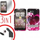 For HTC ThunderBolt  Protector Screen +Car Charger +Cover Hard Case Love 3-in-1