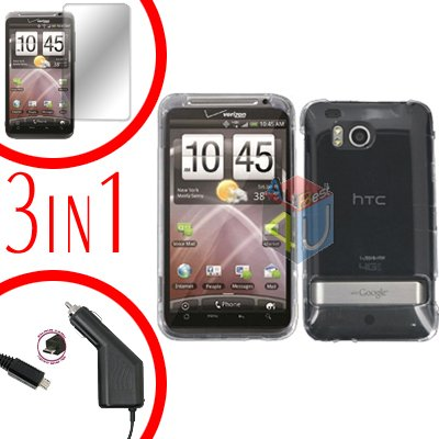 For HTC ThunderBolt  Protector Screen +Car Charger +Cover Hard Case Transparent Clear 3-in-1