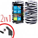 For Samsung Focus i917 Car Charger +Cover Hard Case Zebra 2-in-1