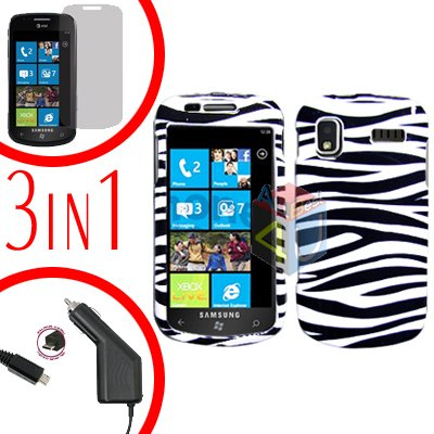 For Samsung Focus i917 Screen +Car Charger + Hard Case Zebra 3-in-1