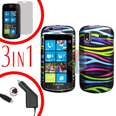 For Samsung Focus i917 Screen +Car Charger + Hard Case Rainbow 3-in-1